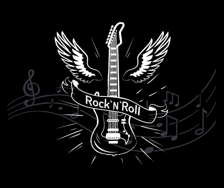 RocknRoll Music Style, Guitar with Wings Sketch