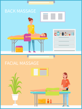 Back and facial massage and procedure set of woman masseuses working with clients and patients lying on table. Cosmetician in salon and masseur vector 向量圖像