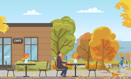Homme buvant du thé dans une tasse dans un café vide, vecteur de la saison d'automne. Personne marchant chien, chat s'approchant du client. Bâtiment et arbres avec des feuilles de feuillage