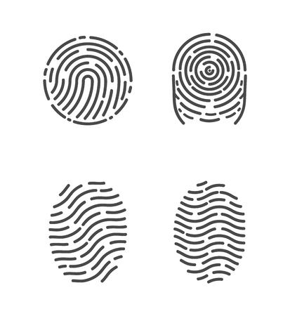 Seguridad y huellas de dedos para pasar acceso. Bocetos de identificación de huellas dactilares establecer iconos vectoriales. Sistema de bio reconocimiento, métodos de identificación Ilustración de vector