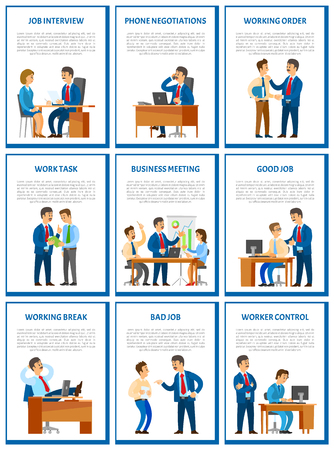 Business meeting and job interview with candidate in office vector. Dismissal of workers, rebukes working orders tasks. Break at work, relaxing chief Foto de archivo - 126339887