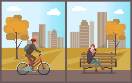 Woman Talking on Mobile Phone and Biker Vector