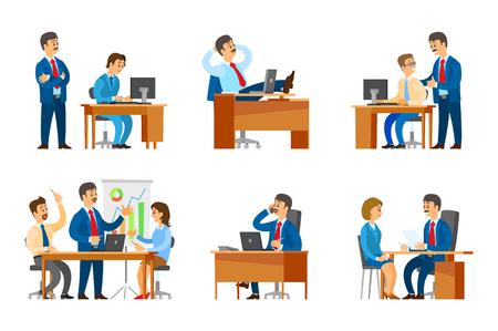 Jefe entrevistando a candidata trabajadora en vector de trabajo. Empleador y empleado, director en la oficina relajándose durante las vacaciones. Seiner reunión de trabajo en equipo reunión Ilustración de vector
