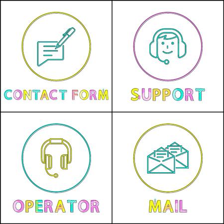 Contact info filling form posters set headlines. Support service of operators wearing headphones and microphones getting mails vector illustration Illusztráció