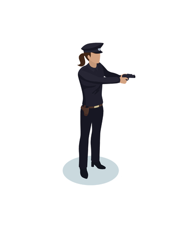 Policewoman with gun color vector illustration isolated, police lady in dark uniform and headdress, woman cop officer at work, armed female with weapon