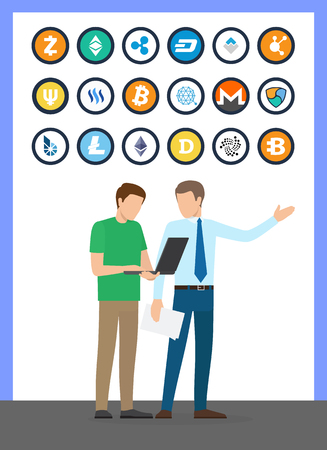 Bitcoin currencies, set and working people vector. Isolated icons of monero and bitshare, dogecoin and litecoin. Boss and busy worker with laptop Illustration