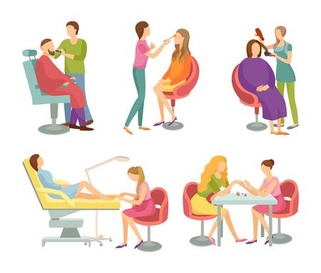 Tratamiento de salón de spa y procedimientos aislados iconos vector set. Peluquero para hombre de moda y estilo, peluquero y pedicurista, manicurista cuidado de uñas