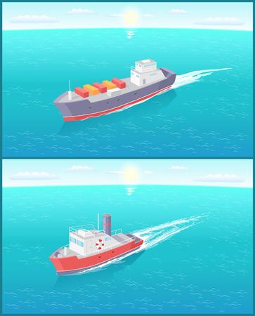 Nave da trasporto marittimo a vapore e nave da carico che navigano e lasciano tracce nell'acqua. Trasporto barca a vela sullo skyline, icona di vettore galleggiante motoscafo