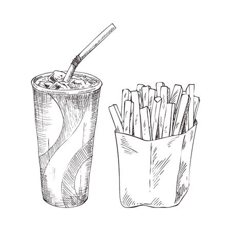 Taza de papel de cola con papas fritas vector ilustración monocroma. Estilo de boceto de insignia de comida rápida para folletos y menú de restaurante, plantilla de portada de café