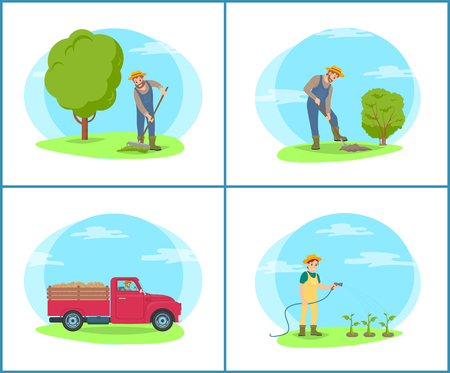 Farmer working on farm with tools and machinery vector cartoon banner set. Man and woman in uniform with truck, digging ground and watering plants Foto de archivo - 126339962