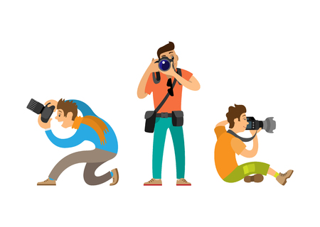 Photographers making picture with modern digital cameras from bottom and front angles. Journalists or paparazzi taking photos vector illustrations.