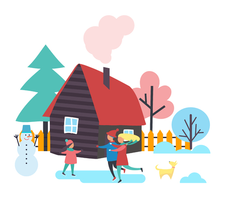 Trees and houses, winter season people spending time outdoor vector. Family of mother, father and child skating on ice. Built snowman with bucket