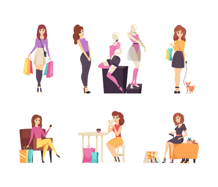 Shopping woman choosing clothes and boots isolated set vector. Female walking with dog carrying bags, lady eating cakes in cafe. Person trying shoes