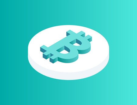 Blockchain crypto coin isolated 3d icon. Rounded financial asset with bitcoin logotype on top. Cryptocurrency cyber cash money, crypto cyber vector