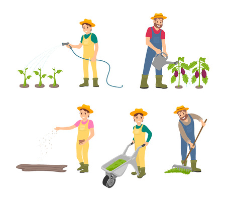 Farming man with can isolated icons set vector. Compost in trolley pushed by woman, agricultural land works on farm. Sowing woman and raking male