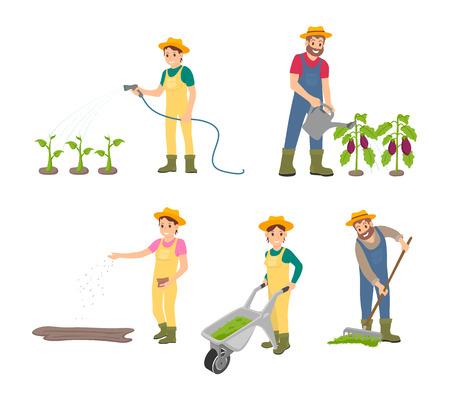 L'homme agricole avec des icônes isolées peut définir le vecteur. Compost dans un chariot poussé par une femme, travaux de terres agricoles à la ferme. Semer la femme et ratisser le mâle