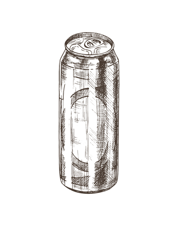 Beer in aluminum closed can monochrome sketch outline. Hand drawn bottle with alcoholic beverage. Craft pale ale in container vector illustration