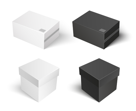 Carton package of square shape, boxes isolated icons set vector. Containers made of cardboard sealed with help of adhesive tape. Packaging and keeping