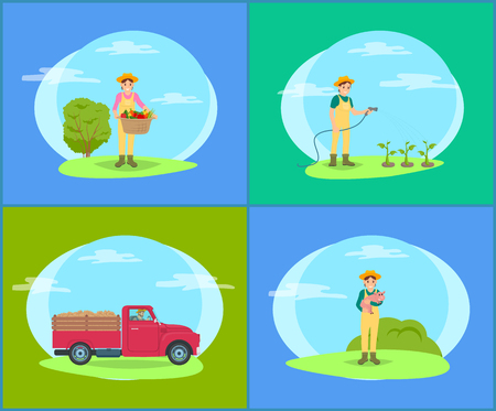 Car with trailer and harvesting woman with wicker basket and vegetables. Farming person with watering hose on plantation, lady holding piglet vector Stock Illustratie
