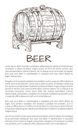 Ale or beer wood firkin vector illustration in sketch style on neutral background. Monochrome poster for brew house advertisement with text sample.