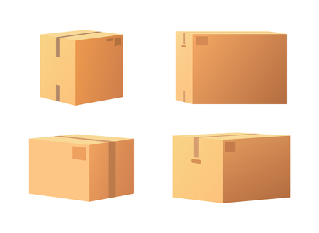 Closed parcel icons from side, back and front view vector isolated. Rectangular packages box mockups, 3D isometric signs. Shipping storage for goods shopping