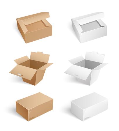Opakowania i pudełka kartonowe na białym tle ikony na białym tle wektor zestaw. Pojemniki z otwartymi nakrętkami, zamknięte zaklejone kartony z taśmą klejącą, zamknięte i otwarte