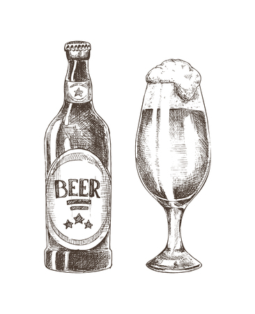 Foamy Beer in Glassy Goblet and Closed Ale Bottle