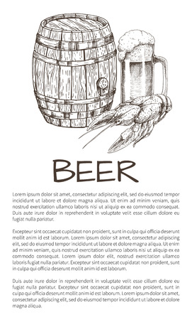 Wooden ale barrel and beer mug with spilling foam and crawfish snack vector illustration in sketch style poster for brew house and advertisement. Illustration