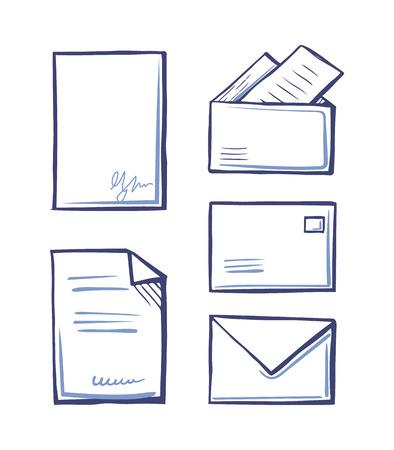 Documents avec signature, enveloppes et dossiers Vecteurs