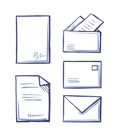 Documents with Signature, Envelopes and Folders Stok Fotoğraf - 115100175