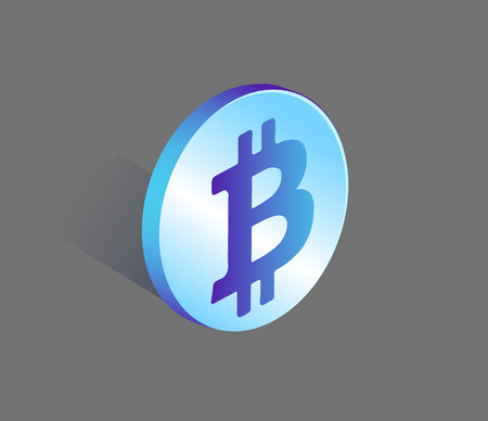 Bitcoin Currency Rounded Icon Vector Illustration Çizim