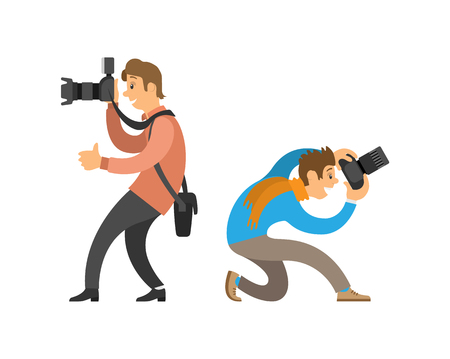 Photographers making photos with digital cameras. Man carrying case for device, guy taking bottom angle to make picture vector illustrations set. Иллюстрация
