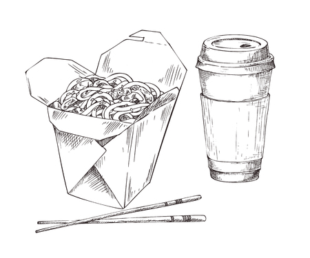 Paper or plastic disposable cup with drink and noodles box with chopsticks icons set. Monochrome sketch style vector illustration for takeaway fast food.