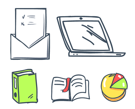 Office paper and laptop book with bookmark isolated icons set vector. Pie diagram, laptop screen monitor and message with page, sheet of paper file Ilustrace
