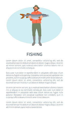 Fishery Sport or Hobby Activity Poster with Fisher Illustration