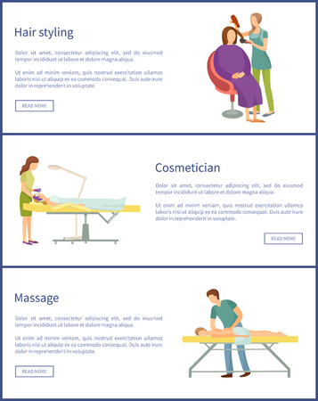 Hair styling of stylist, cosmetician face therapy of woman. Set of posters with text sample and massage, masseur with client and big towel vector