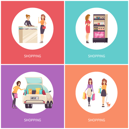 Shopping posters beauty stand with cosmetics and products for makeup set vector. Jewelry store, lady wearing precious diamond ring, car with bags