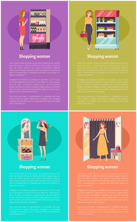 Shopping beauty stand and cosmetics posters set vector. Grocery store with vegetables and fruits on shelves. Fashion clothes shoes and hats wearing