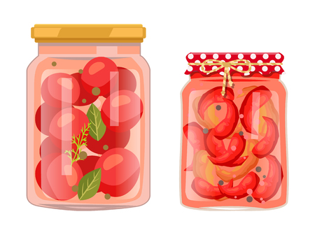 Tomato and chili pepper pickled salty food set. Vegetables in brine inside jars with greenery or spices. Canned healthy products vector illustration. Ilustração