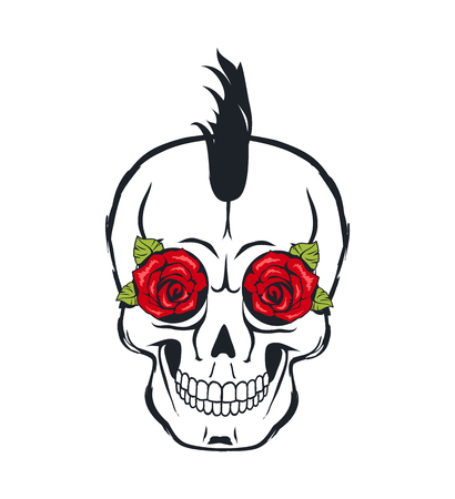 Skull Icon with Roses and Leaves Colorful Poster Illustration