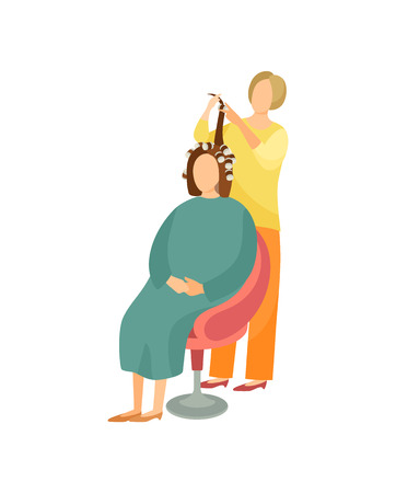 Procedure in hairdressing salon cartoon vector hairdresser and client. Haircutter makes winding curlers for client sitting on armchair under cloth