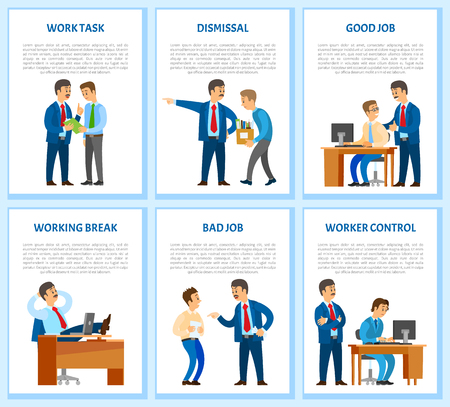 Work task and order, employee dismissal by employer vector. Reprimand, worker monitor, supervisor of novice working by computer. Boss praising man Illustration