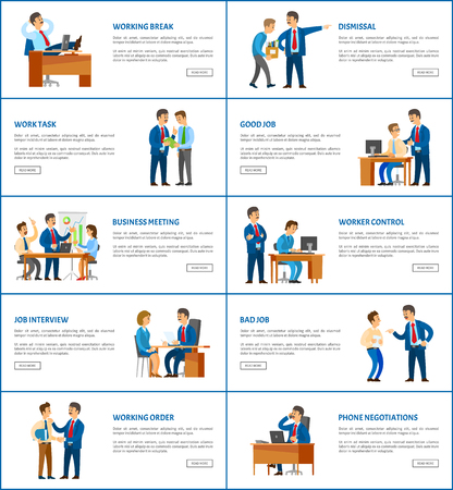 Dismissal and task, job interview and worker control, clerk with manager, business vector illustrations. Office work, boss and employee relationships. Stock Illustratie