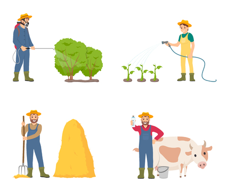 Farmer people with animal isolated icons set vector. Spraying of bushes with insecticides, putting hay on bale. Woman watering plant and man with cow