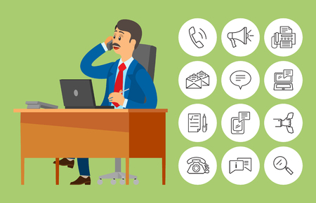 Boss worker sitting in office talking on phone vector. Person wearing suit discussing problems with partners, icons of loudspeaker, call and messages