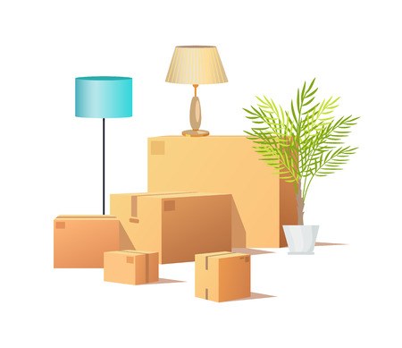 Box carton cargo, delivery of packages vector. Houseplant in pot, leaves of tropical plant. Torchiere standing lamp, cardboard containers isometric