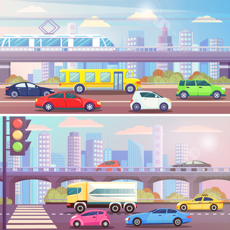 City street with traffic light and transport vector. Road with cars, buses and tramways, railway station with train. Skyscrapers and zebra on route