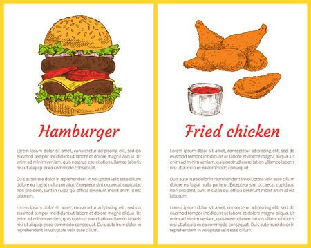 Hamburger sesame buns and fried chicken served with ketchup. Meat fast food crumbed drumsticks. Traditional american dishes set vector illustration