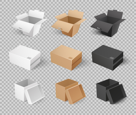 Mockups of cardboards, delivery packs in realistic design. Containers templates vector. Boxes and packages made of paper and carton on transparency Illustration