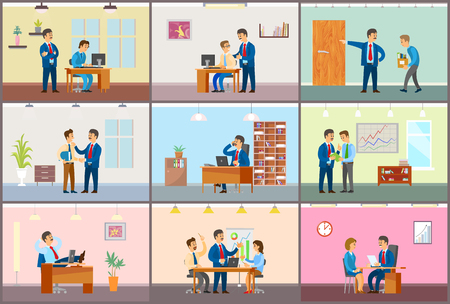 Boss working in office, dismissal and interview vector. Businessman worker monitor, supervising novice at work, conference meeting of team, planning